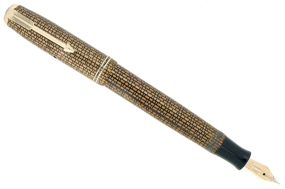 1937 PARKER GOLDEN WEB DOUBLE JEWEL VACUMATIC FOUNTAIN PEN M-B FLEX NIB RESTORED OFFERED BY ANTIQUE DIGGER