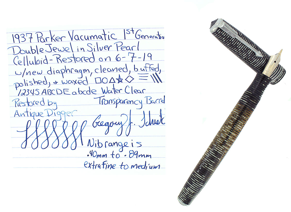 1937 PARKER VACUMATIC SILVER PEARL STANDARD DOUBLE JEWEL FOUNTAIN PEN RESTORED OFFERED BY ANTIQUE DIGGER