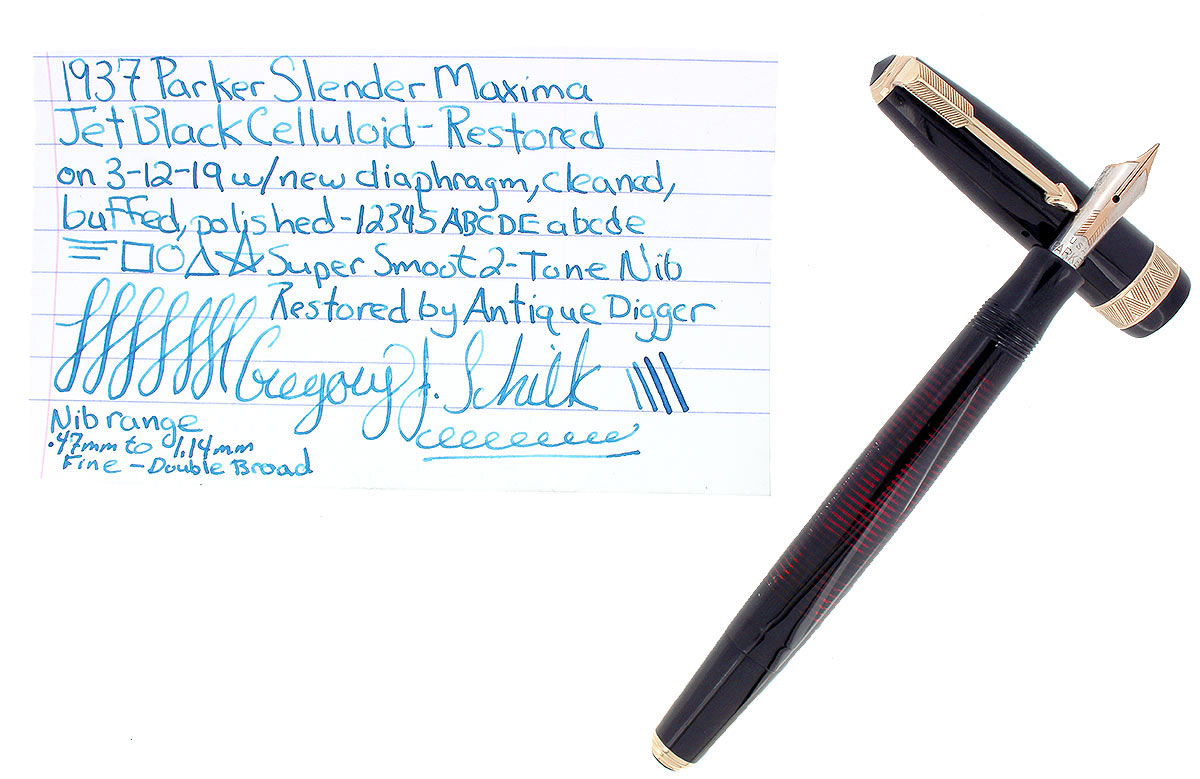 1937 PARKER JET BLACK SLENDER MAXIMA VACUMATIC DOUBLE JEWEL FOUNTAIN PEN RESTORED OFFERED BY ANTIQUE DIGGER