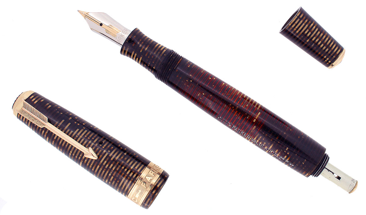 RARE 1937 PARKER SENIOR MAXIMA PARKER VACUMATIC CAP BAND FOUNTAIN PEN RESTORED OFFERED BY ANTIQUE DIGGER