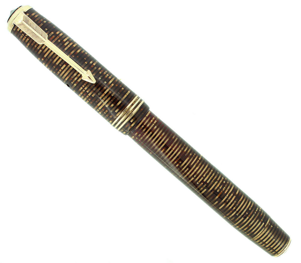 1937 PARKER GOLDEN PEARL VACUMATIC DOUBLE JEWEL STANDARD FOUNTAIN PEN RESTORED OFFERED BY ANTIQUE DIGGER