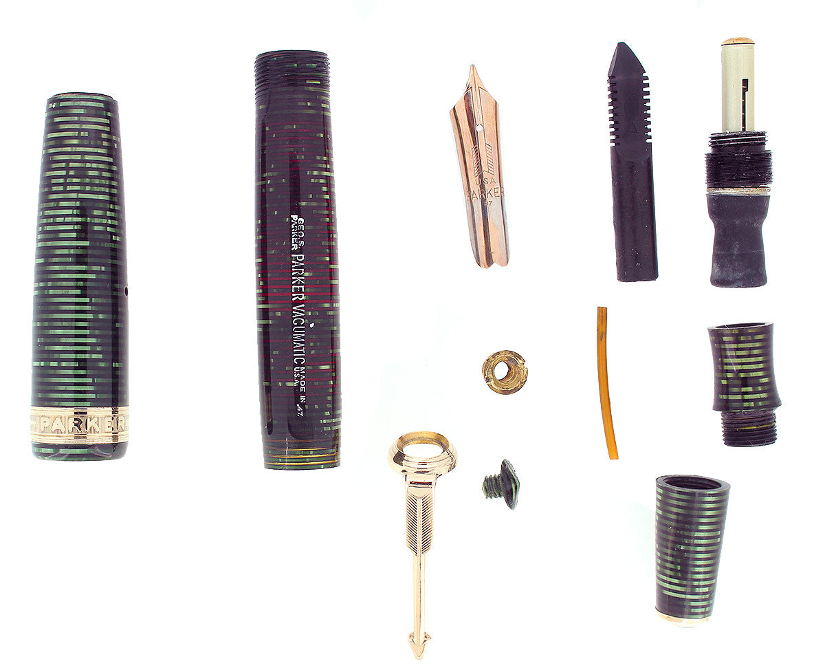 RARE 1937 PARKER EMERALD SENIOR MAXIMA PARKER VACUMATIC CAP BAND FOUNTAIN PEN RESTORED OFFERED BY ANTIQUE DIGGER