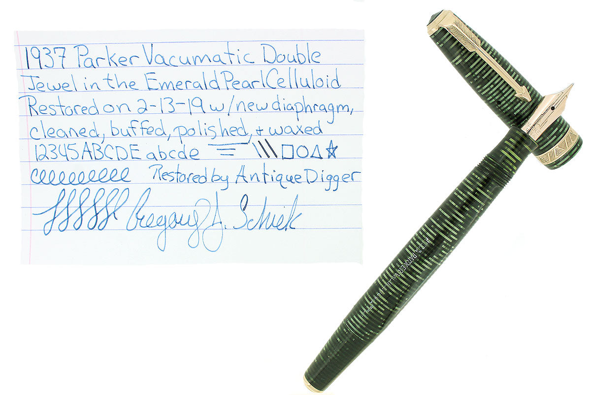 1937 PARKER EMERALD PEARL DOUBLE JEWEL VACUMATIC FOUNTAIN RESTORED EARLY STYLE OFFERED BY ANTIQUE DIGGER