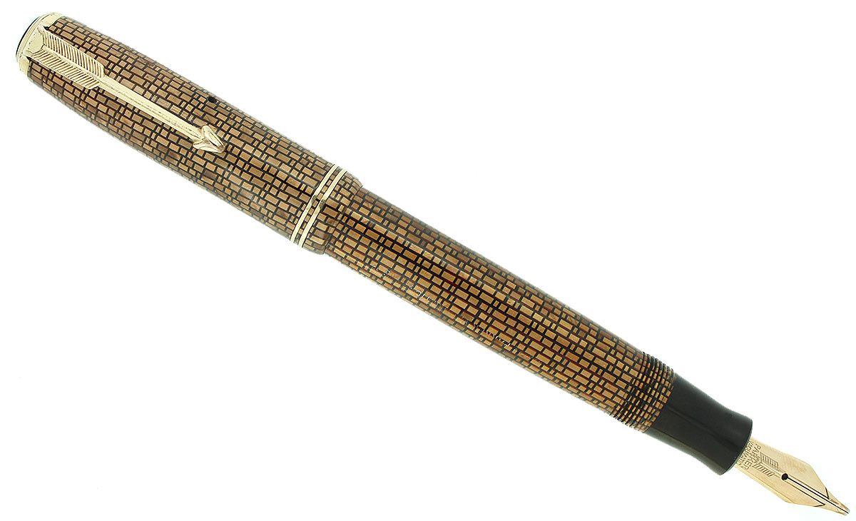 1937 PARKER GOLDEN WEB VACUMATIC DOUBLE JEWEL FOUNTAIN PEN F-BBB+ NIB RESTORED OFFERED BY ANTIQUE DIGGER