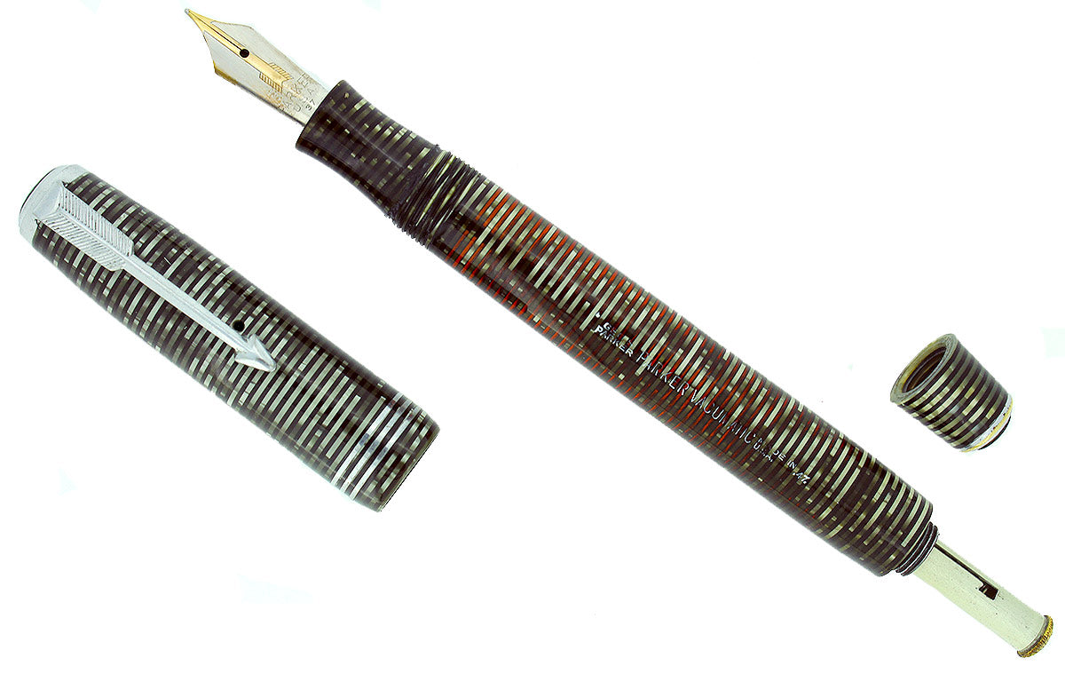 1937 PARKER SILVER PEARL STANDARD VACUMATIC FOUNTAIN PEN RESTORED OFFERED BY ANTIQUE DIGGER