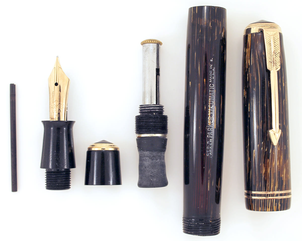 RESTORED 1938 PARKER GOLD BROWN DOUBLE JEWEL VACUMATIC SHADOW WAVE FOUNTAIN PEN  OFFERED BY ANTIQUE DIGGER