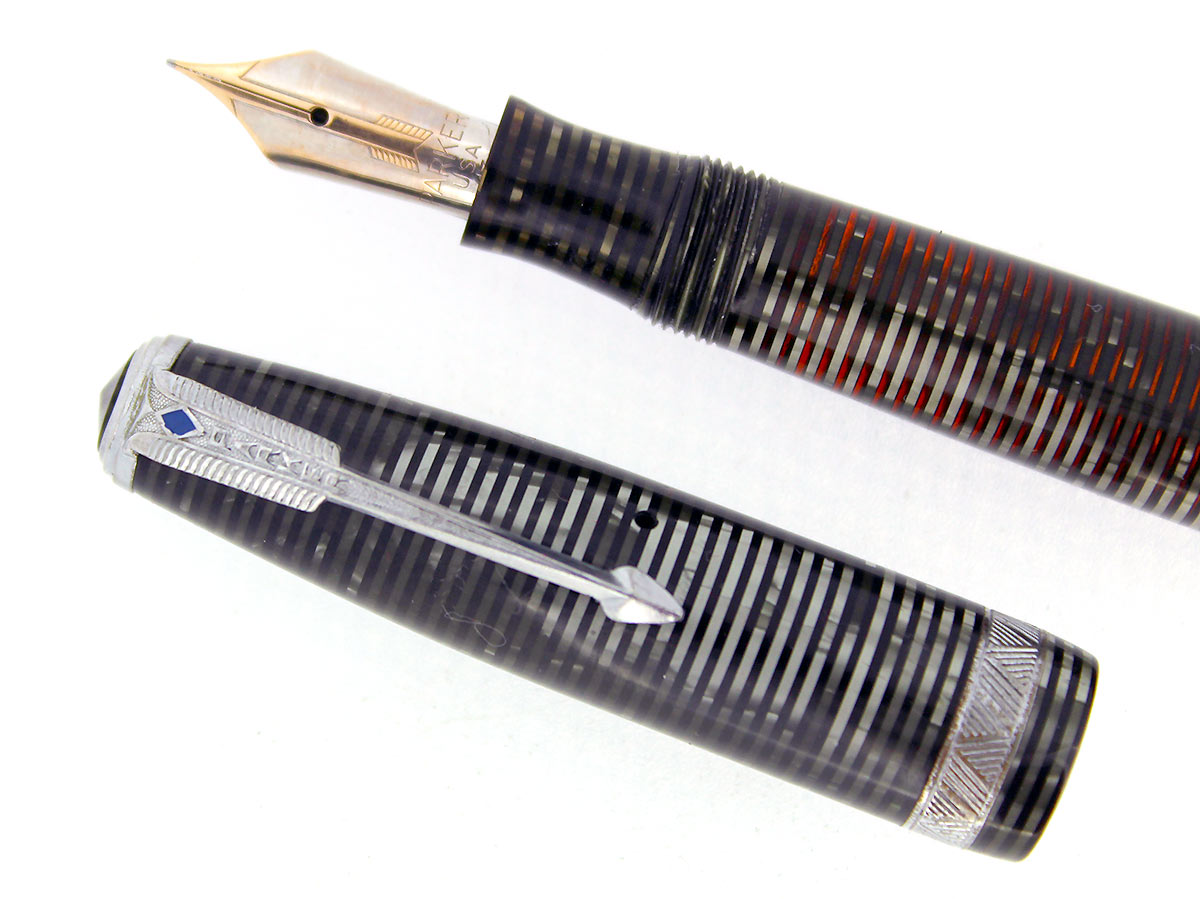 1938 PARKER SILVER PEARL DOUBLE JEWEL VACUMATIC FOUNTAIN PEN LONG MAJOR RESTORED OFFERED BY ANTIQUE DIGGER