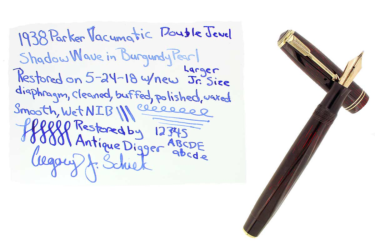 RESTORED 1938 PARKER JR BURGUNDY DOUBLE JEWEL VACUMATIC SHADOW WAVE FOUNTAIN PEN OFFERED BY ANTIQUE DIGGER