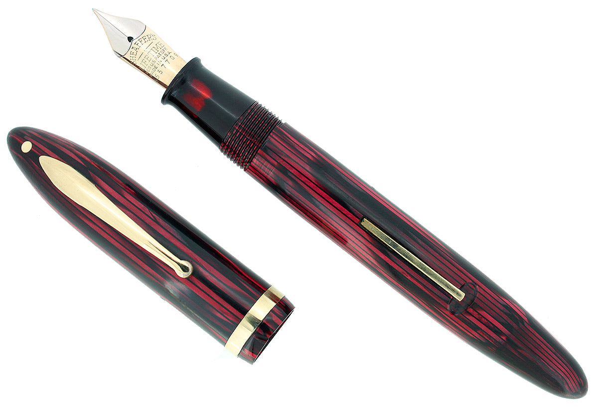 CIRCA 1938 SHEAFFER OVERSIZED CARMINE BALANCE FOUNTAIN PEN XF-M NIB RESTORED OFFERED BY ANTIQUE DIGGER