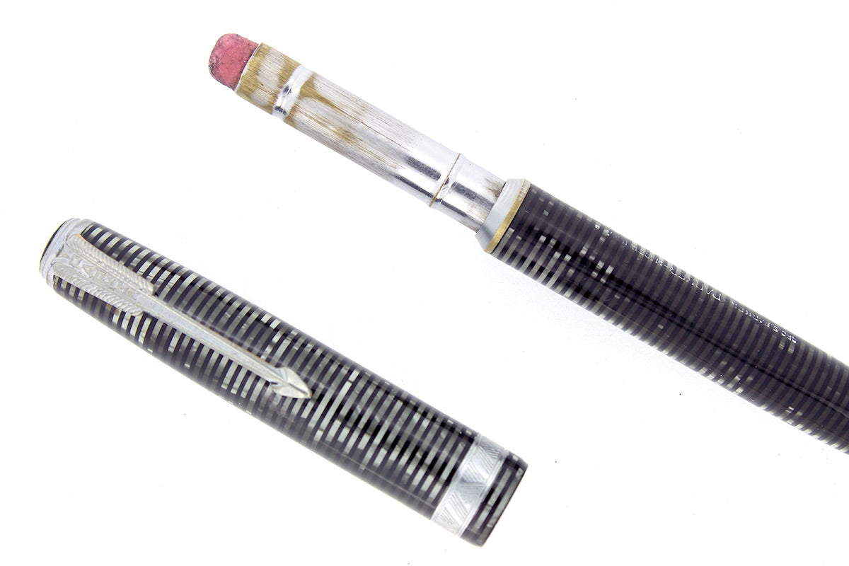 1938 PARKER VACUMATIC SILVER PEARL CELLULOID MAJOR INJECTOR PENCIL SCARCE OFFERED BY ANTIQUE DIGGER