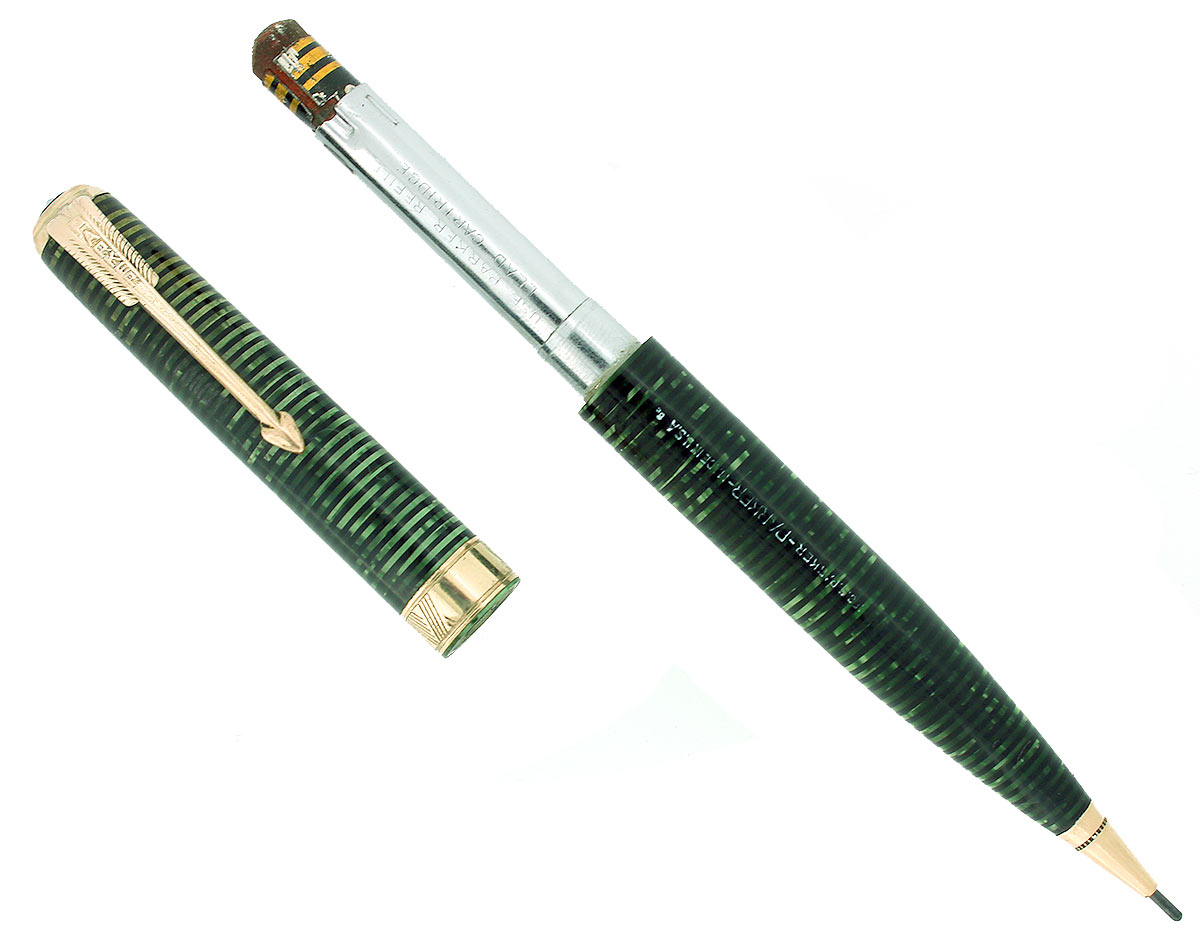 1938 PARKER VACUMATIC SENIOR MAXIMA EMERALD PEARL MECHANICAL PENCIL RESTORED OFFERED BY ANTIQUE DIGGER