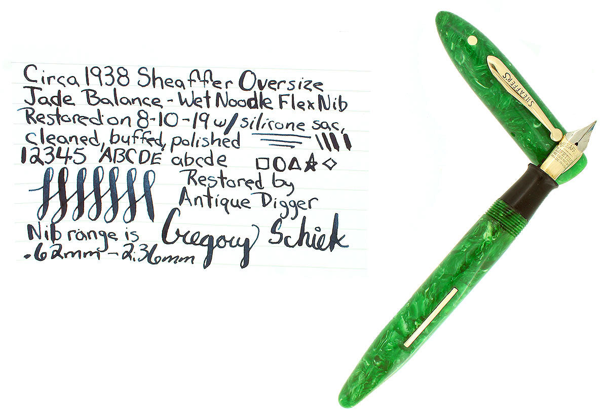 CIRCA 1938 SHEAFFER OVERSIZED BALANCE JADE GREEN CELLULOID FOUNTAIN PEN RESTORED OFFERED BY ANTIQUE DIGGER