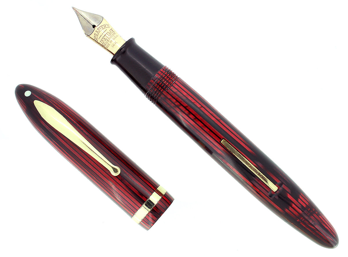 CIRCA 1938 SHEAFFER OVERSIZE CARMINE RED BALANCE FOUNTAIN PEN RESTORED OFFERED BY ANTIQUE DIGGER