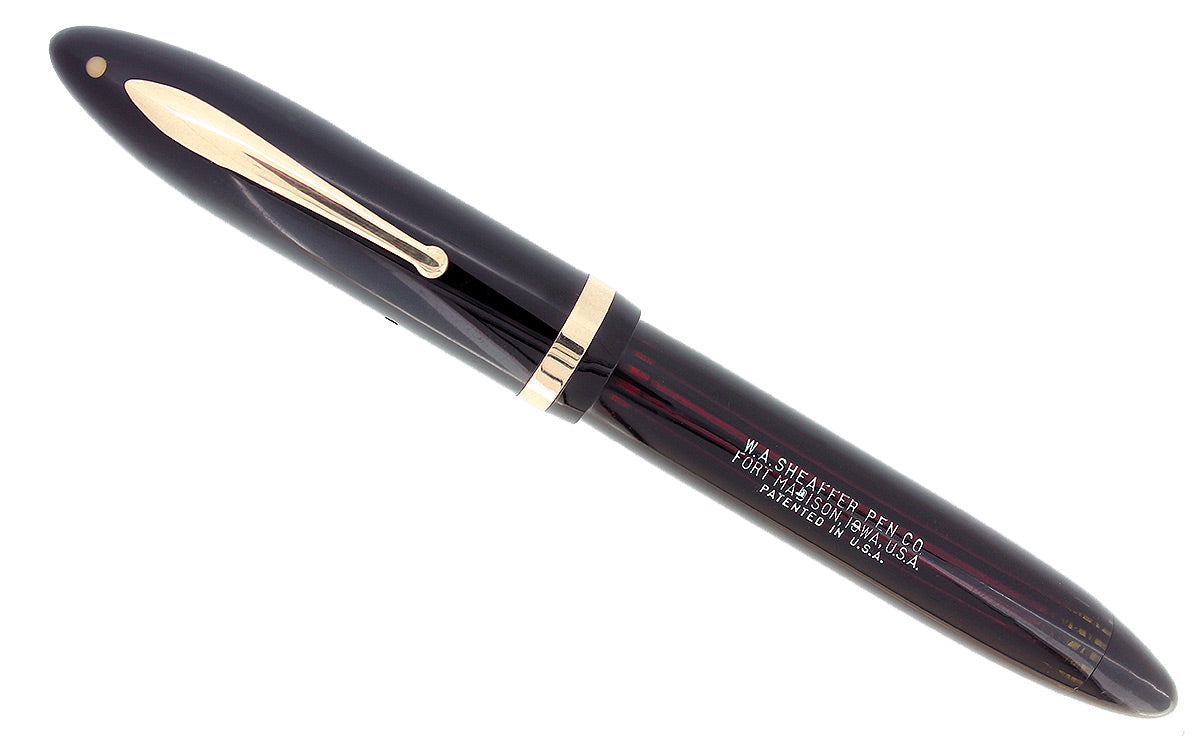 C1938 SHEAFFER JET BLACK OVERSIZE BALANCE FOUNTAIN PEN PLUNGER FILL RESTORED OFFERED BY ANTIQUE DIGGER