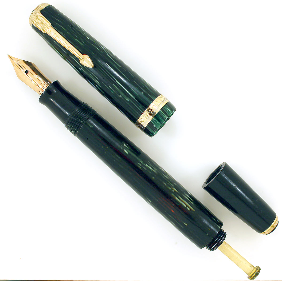 RESTORED 1939 PARKER EMERALD PEARL VACUMATIC SHADOW WAVE DEBUTANTE FOUNTAIN PEN W/ STAR CLIP