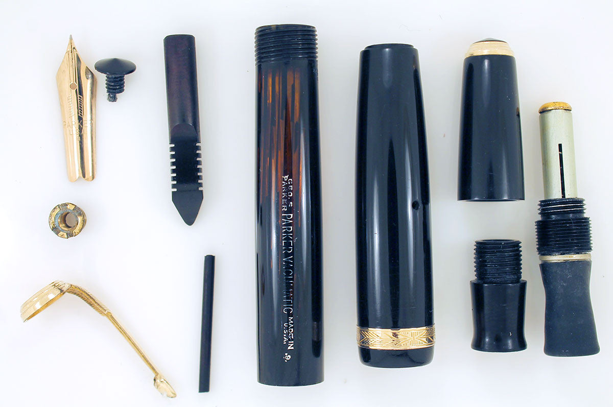 1939 PARKER JET BLACK DOUBLE JEWEL VACUMATIC SHADOW WAVE FOUNTAIN PEN RESTORED OFFERED BY ANTIQUE DIGGER
