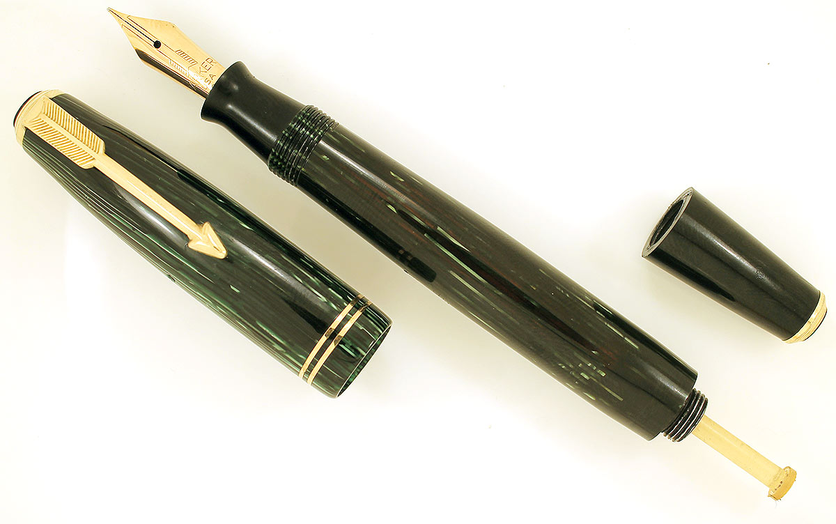 1939 PARKER EMERALD DOUBLE JEWEL VACUMATIC SHADOW WAVE FOUNTAIN PEN RESTORED OFFERED BY ANTIQUE DIGGER
