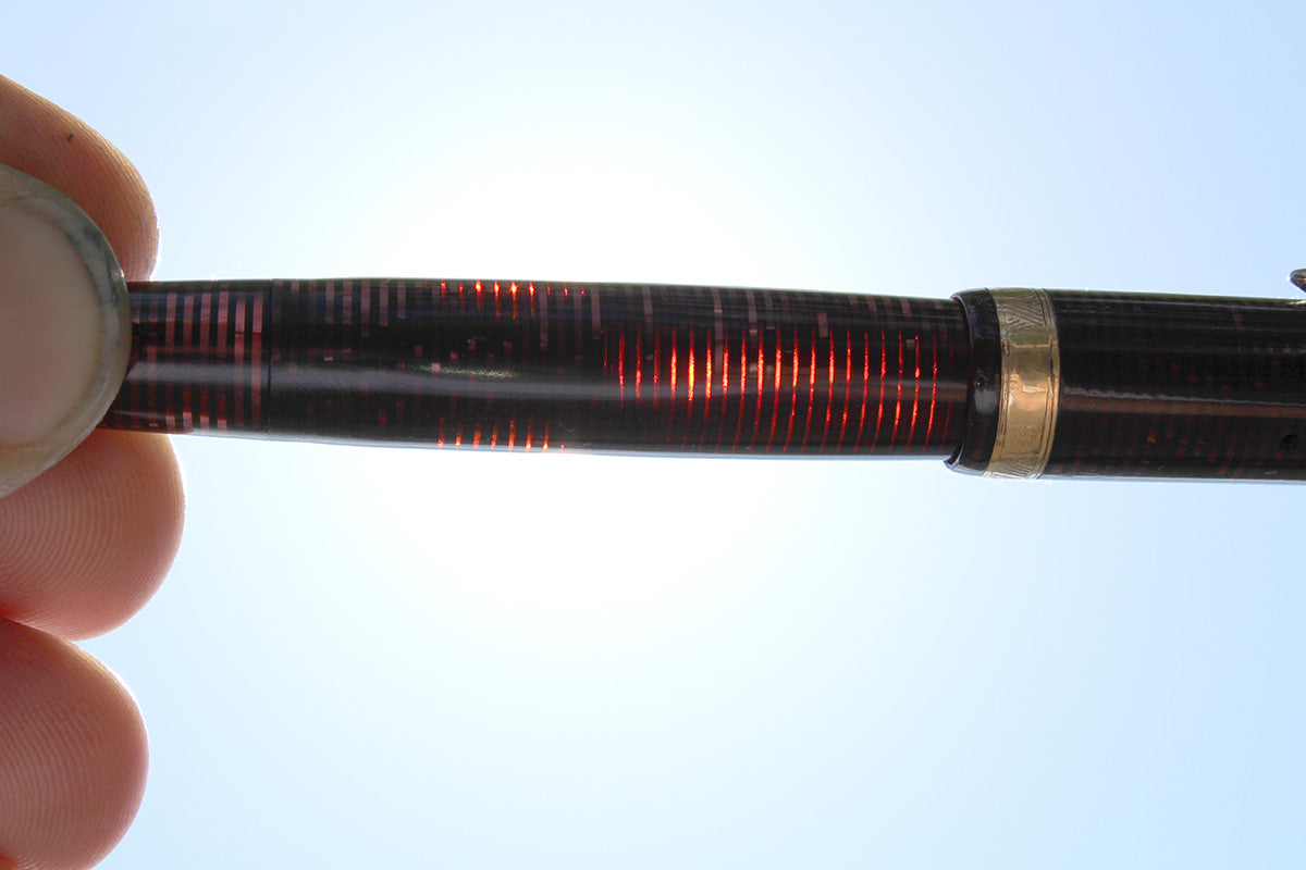 1939 PARKER BURGUNDY VACUMATIC DOUBLE JEWEL FOUNTAIN PEN M - BBB FLEX NIB RESTORED OFFERED BY ANTIQUE DIGGER