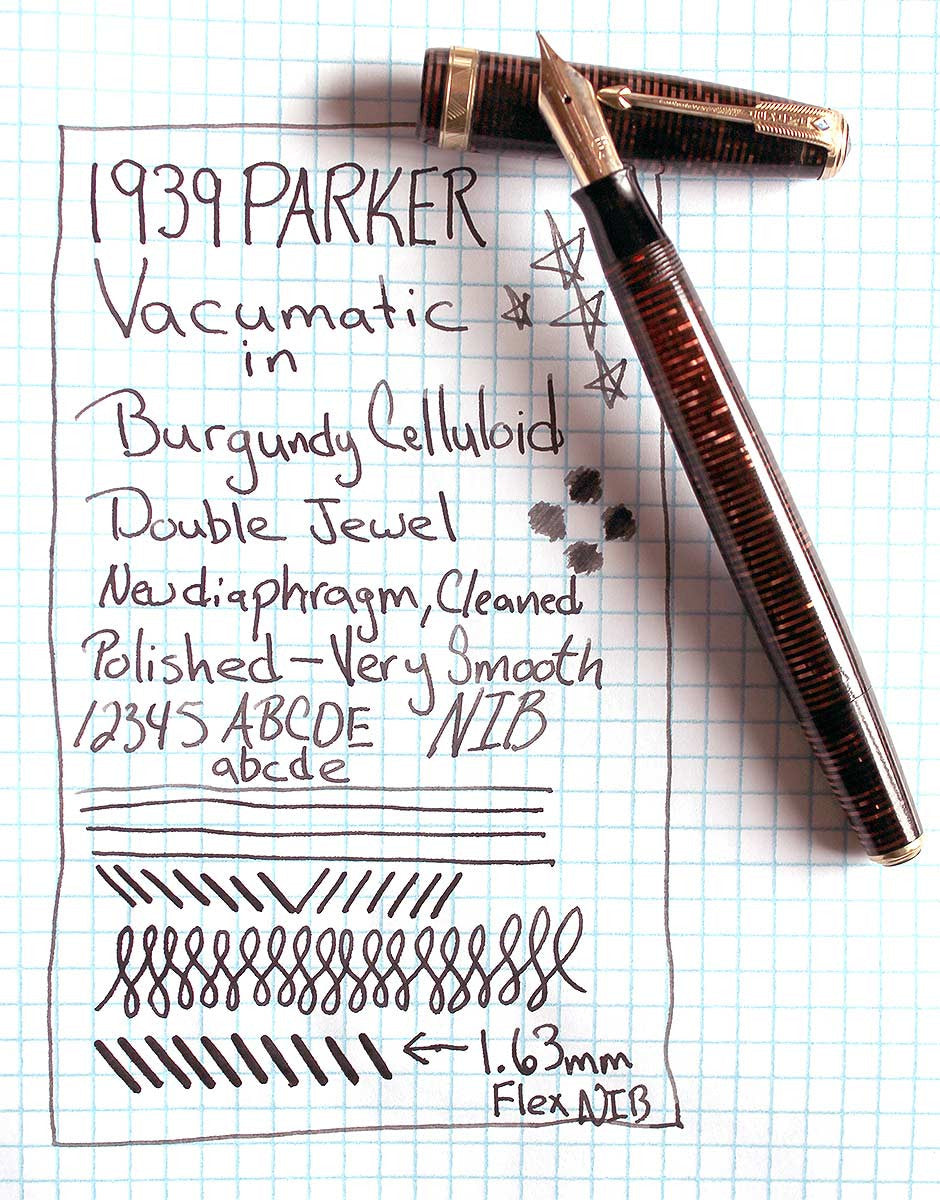 1939 Parker Vacumatic Burgundy Pearl Celluloid Fountain Pen