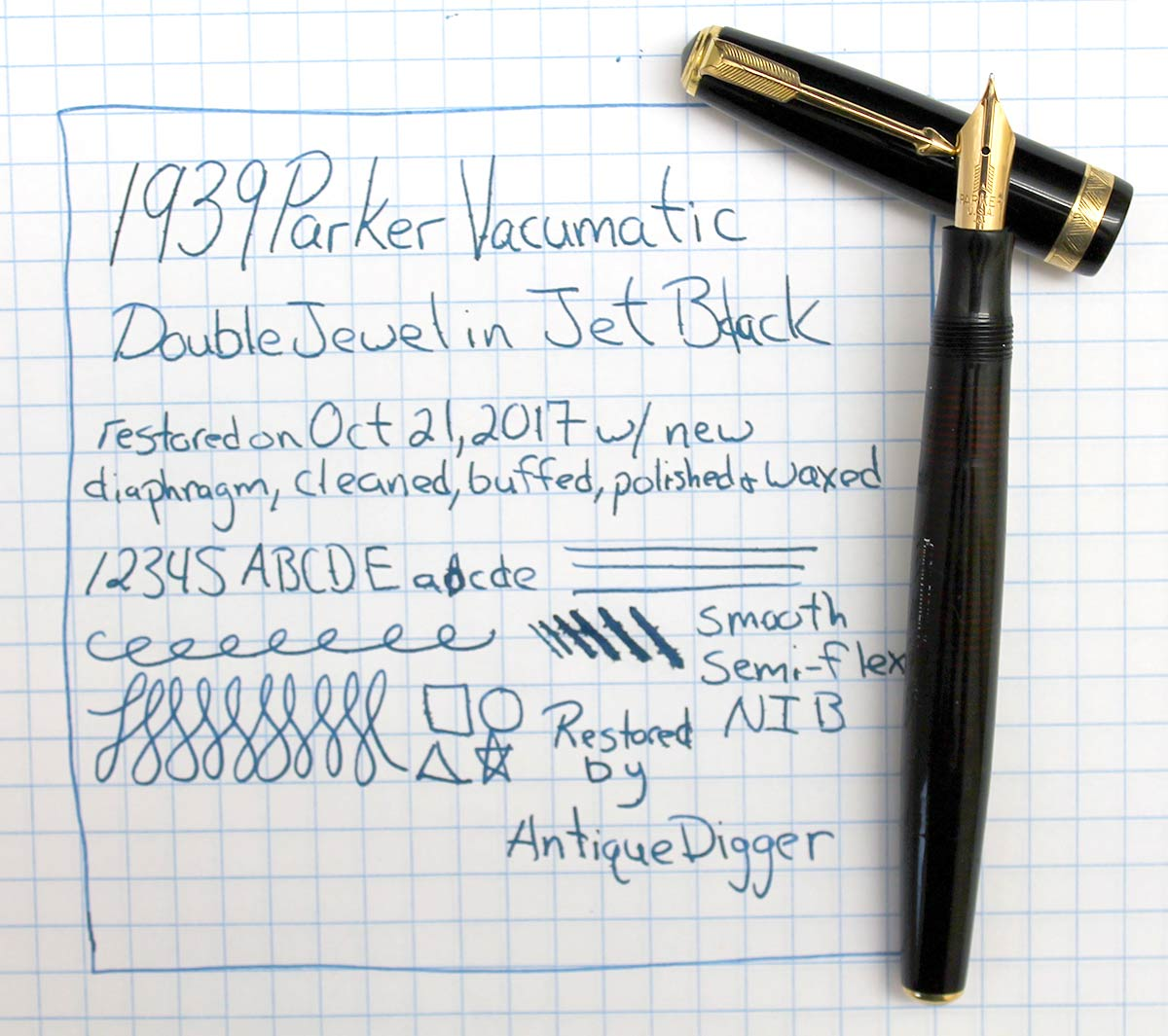 1938 PARKER JET BLACK VACUMATIC DOUBLE JEWEL FOUNTAIN PEN WITH F - B FLEX NIB IN RESTORED CONDITION OFFERED BY ANTIQUE DIGGER