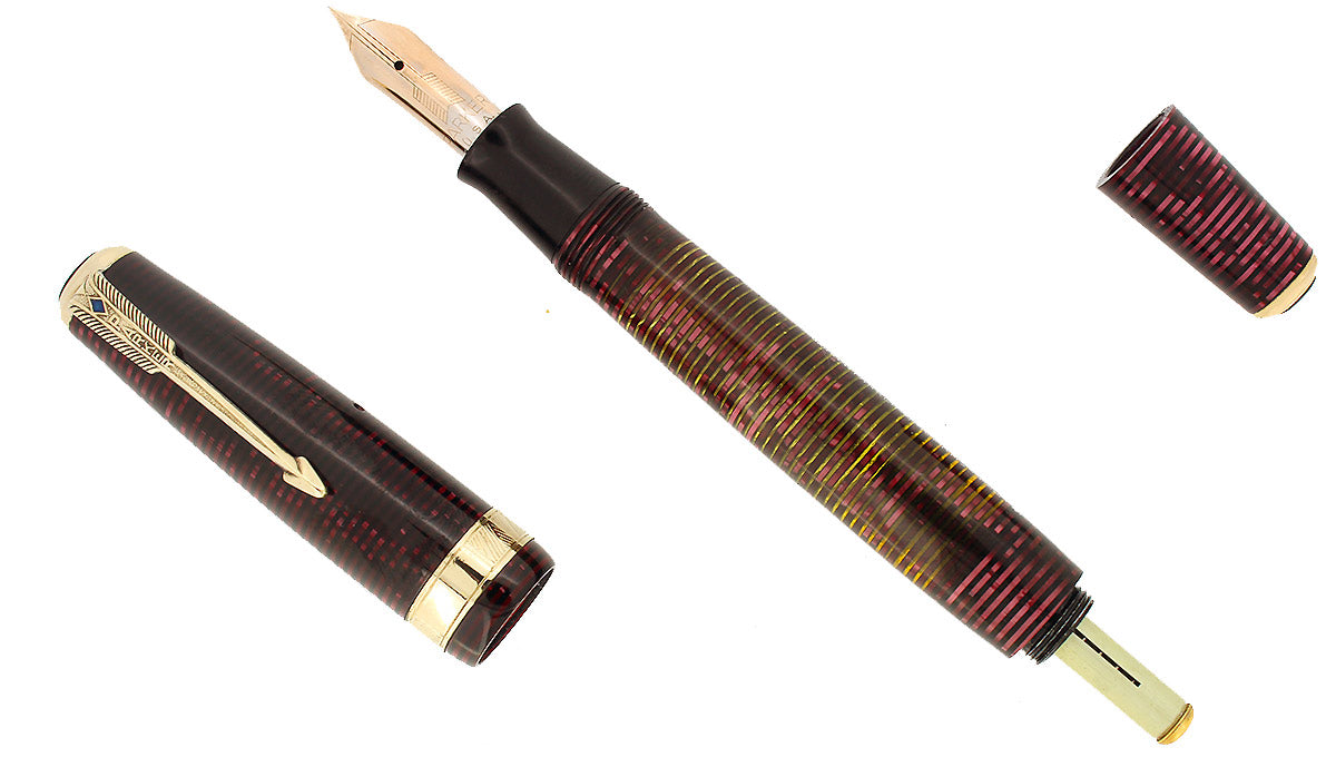 1939 PARKER BURGUNDY PEARL SENIOR MAXIMA VACUMATIC DJ FOUNTAIN PEN RESTORED OFFERED BY ANTIQUE DIGGER