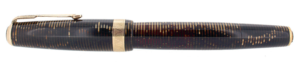 1939 PARKER GOLDEN PEARL SENIOR MAXIMA VACUMATIC DJ FOUNTAIN PEN NEAR MINT RESTORED OFFERED BY ANTIQUE DIGGER