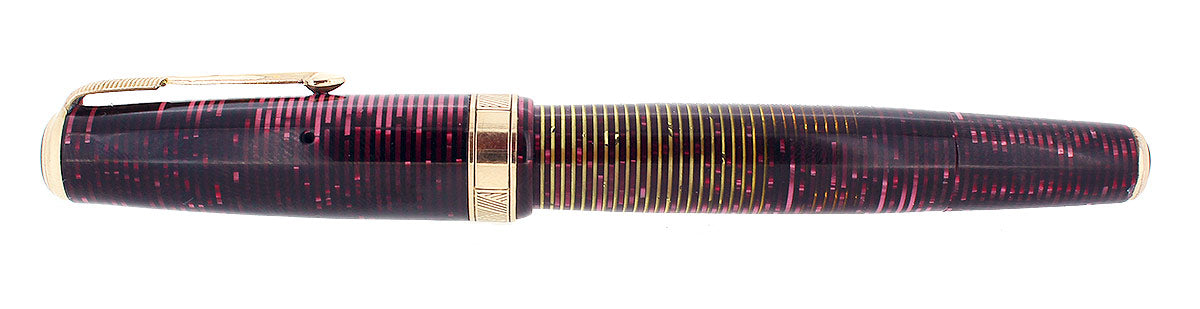 1939 PARKER BURGUNDY PEARL SENIOR MAXIMA VACUMATIC DOUBLE JEWEL FOUNTAIN PEN RESTORED OFFERED BY ANTIQUE DIGGER