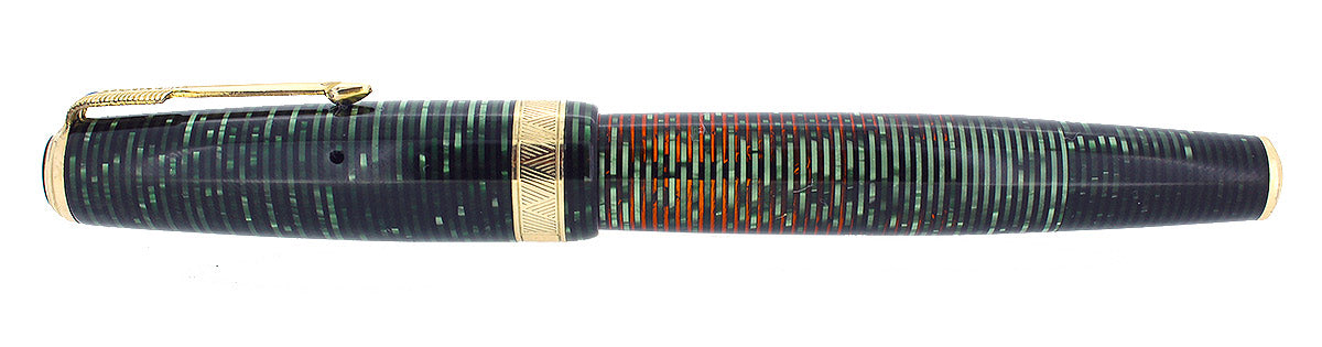 1939 PARKER SENIOR MAXIMA VACUMATIC DOUBLE JEWEL EMERALD PEARL FOUNTAIN PEN RESTORED OFFERED BY ANTIQUE DIGGER