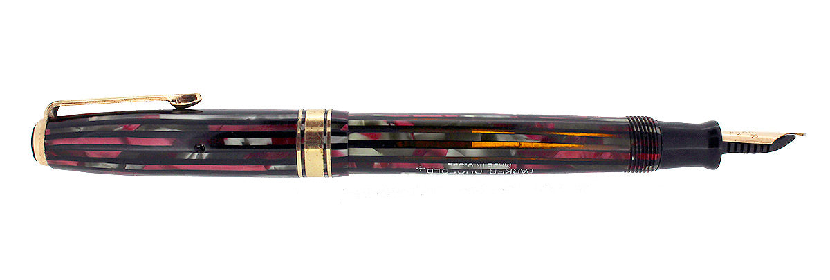 1941 PARKER DUOFOLD FOUNTAIN PEN DUSTY ROSE CELLULOID INGENUE SIZE RESTORED OFFERED BY ANTIQUE DIGGER