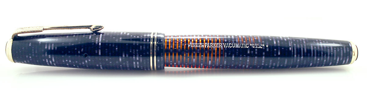 RESTORED 1940 PARKER AZURE PEARL DOUBLE JEWEL VACUMATIC FOUNTAIN PEN MAJOR SIZE OFFERED BY ANTIQUE DIGGER