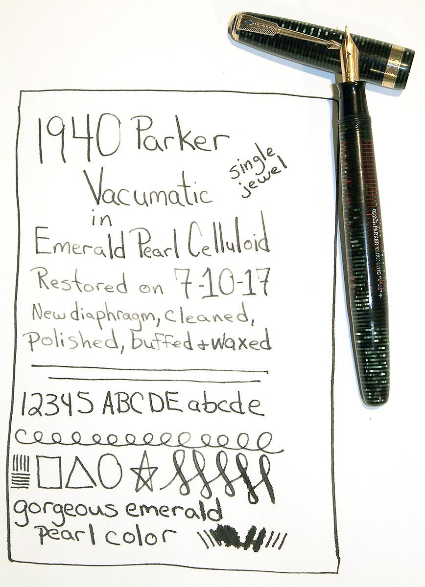 1940 PARKER EMERALD PEARL VACUMATIC MAJOR FOUNTAIN PEN F to BB FLEX NIB RESTORED OFFERED BY ANTIQUE DIGGER