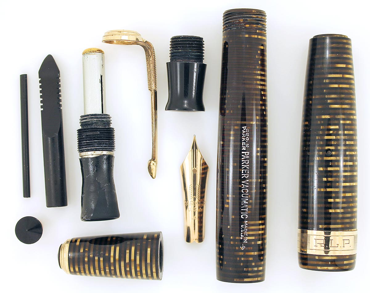 RESTORED 1940 PARKER GOLDEN PEARL DOUBLE JEWEL VACUMATIC MAJOR FOUNTAIN PEN WITH JEWELERS CAP BAND OFFER BY ANTIQUE DIGGER