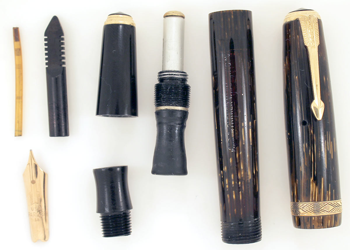 1940 PARKER GOLD PEARL DOUBLE JEWEL VACUMATIC SHADOW WAVE FOUNTAIN PEN RESTORED OFFERED BY ANTIQUE DIGGER
