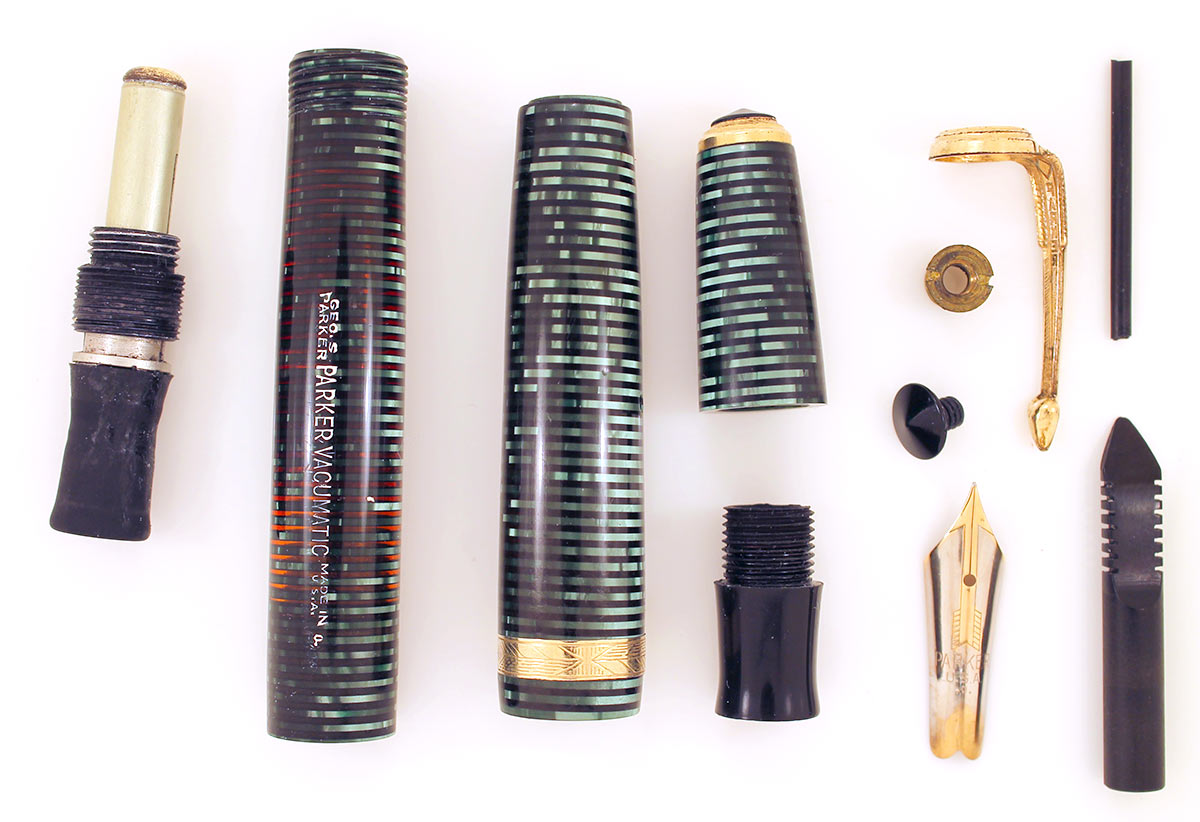 1940 PARKER EMERALD PEARL VACUMATIC DOUBLE JEWEL FOUNTAIN PEN F-BB NIB RESTORED OFFERED BY ANTIQUE DIGGER
