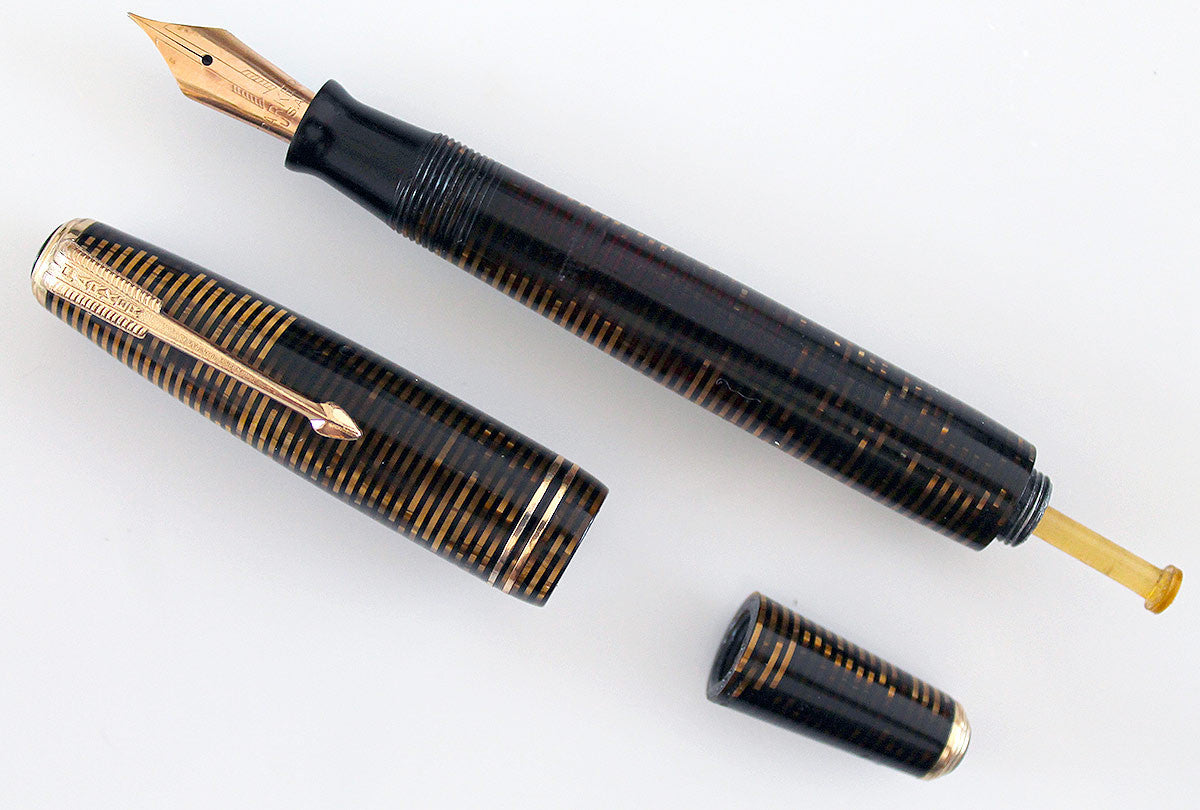 RESTORED 1940 PARKER VACUMATIC GOLDEN PEARL CELLULOID FOUNTAIN PEN DOUBLE JEWEL