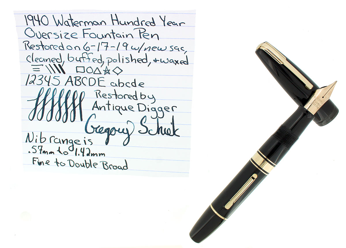 1940 JET BLACK WATERMAN 100 YEAR OVERSIZE FOUNTAIN PEN SEMI-FLEX NIB RESTORED OFFERED BY ANTIQUE DIGGER