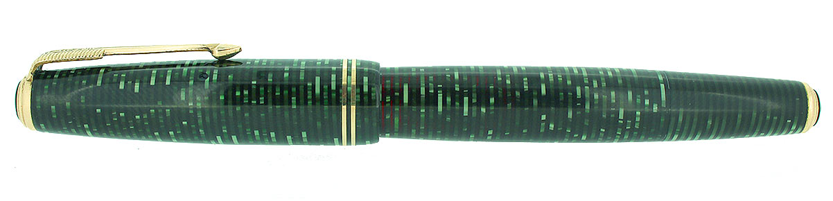 1940 PARKER EMERALD PEARL VACUMATIC DOUBLE JEWEL FOUNTAIN PEN M-BB NIB RESTORED OFFERED BY ANTIQUE DIGGER