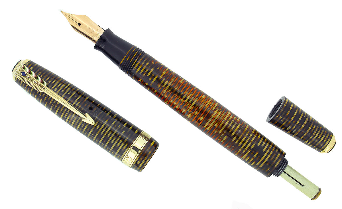 1940 PARKER VACUMATIC GOLDEN PEARL DOUBLE JEWEL FOUNTAIN PEN RESTORED OFFERED BY ANTIQUE DIGGER