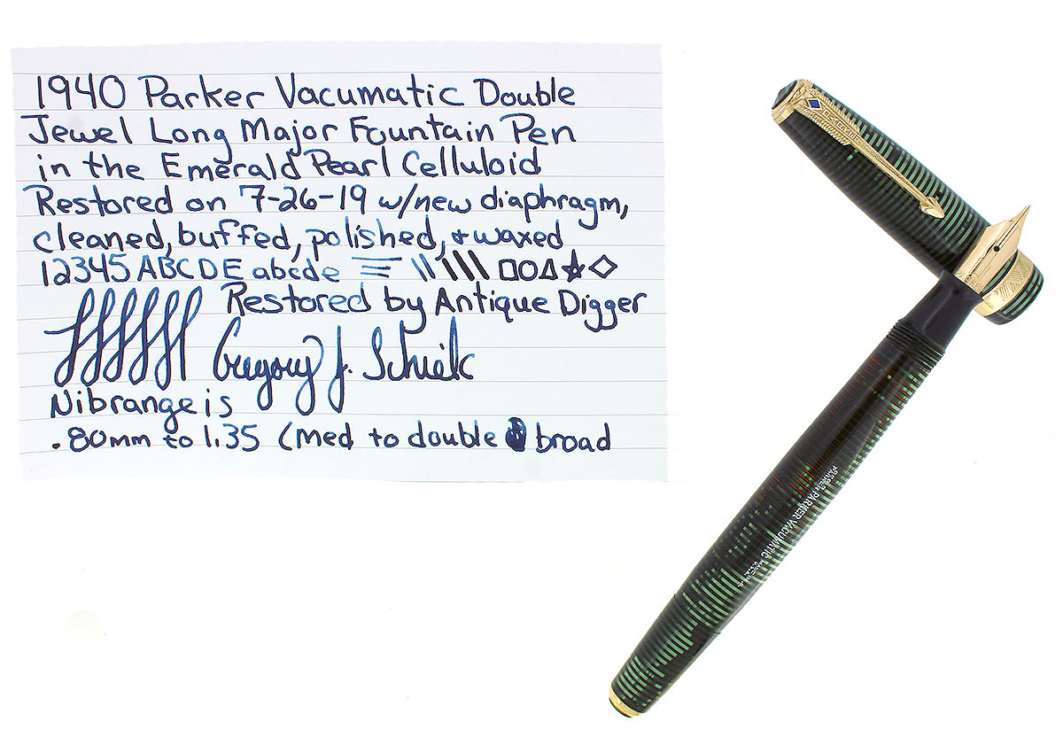 1940 PARKER VACUMATIC EMERALD PEARL DOUBLE JEWEL LONG MAJOR FOUNTAIN PEN RESTORED OFFERED BY ANTIQUE DIGGER