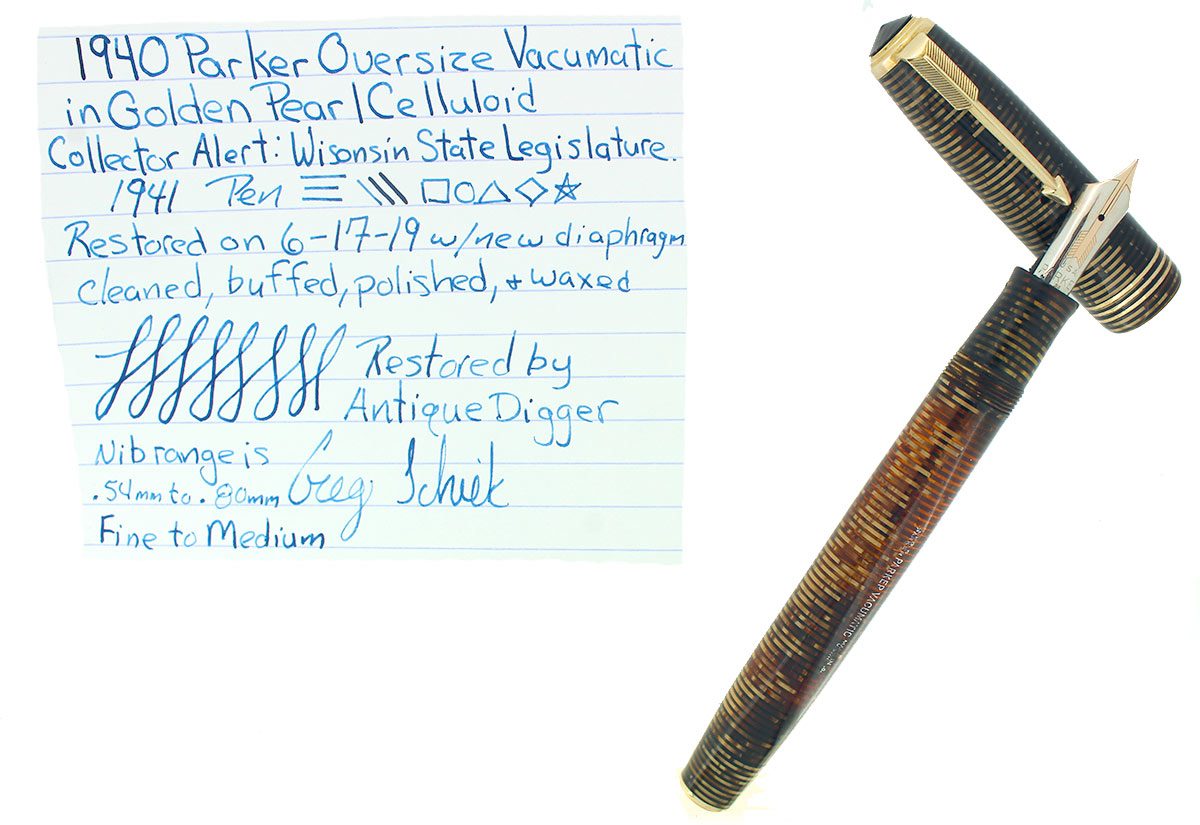 1940 PARKER GOLDEN PEARL OVERSIZE FOUNTAIN PEN RESTORED WISCONSIN LEGISLATURE IMPRINT OFFERED BY ANTIQUE DIGGER