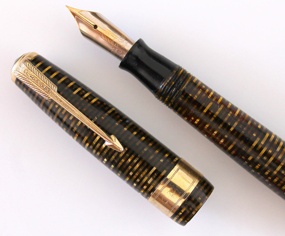RESTORED 1941 PARKER DOUBLE JEWEL VACUMATIC MAJOR FOUNTAIN PEN WITH JEWELERS CAP BAND