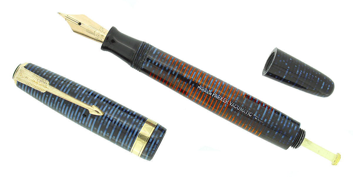 1941 PARKER AZURE PEARL VACUMATIC MAJOR FOUNTAIN PEN GORGEOUS COLOR RESTORED OFFERED BY ANTIQUE DIGGER