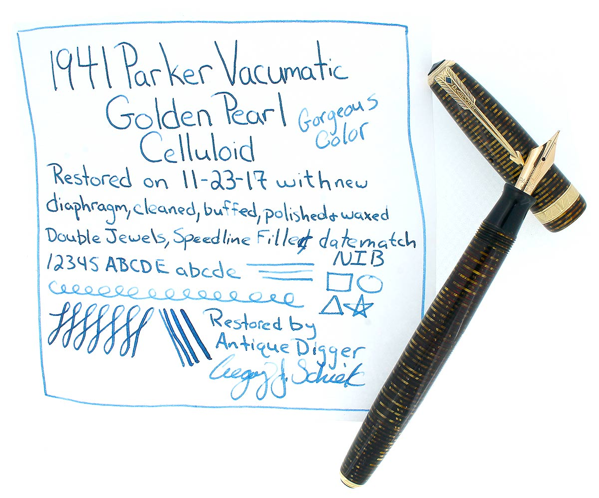 1941 PARKER VACUMATIC DOUBLE JEWEL GOLDEN PEARL CELLULOID FOUNTAIN PEN RESTORED OFFERED BY ANTIQUE DIGGER