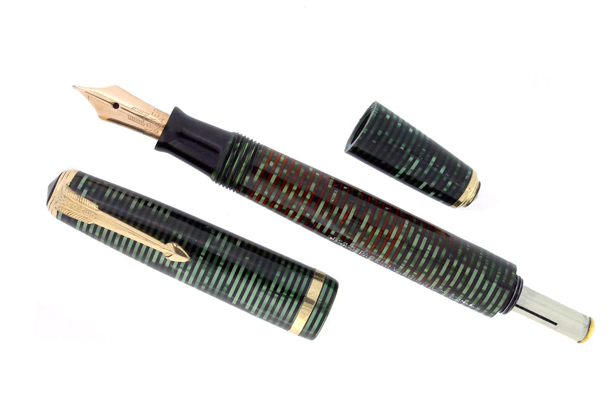 1941 PARKER EMERALD PEARL VACUMATIC DEBUTANTE FOUNTAIN PEN RESTORED OFFERED BY ANTIQUE DIGGER