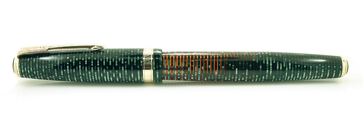1941 PARKER VACUMATIC MAJOR EMERALD PEARL DOUBLE JEWELED FOUNTAIN PEN RESTORED OFFERED BY ANTIQUE DIGGER