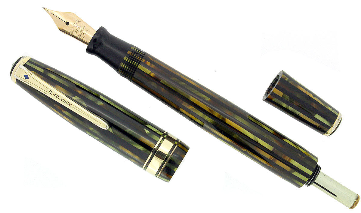 1941 PARKER STRIPED SENIOR DUOFOLD GREEN GOLD CELLULOID FOUNTAIN PEN RESTORED OFFERED BY ANTIQUE DIGGER