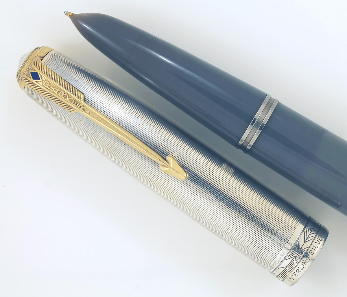 PARKER 51 DOUBLE JEWEL 1st YEAR DOVE GRAY 1st YEAR LINED STERLING CAP RESTORED OFFERED BY ANTIQUE DIGGER