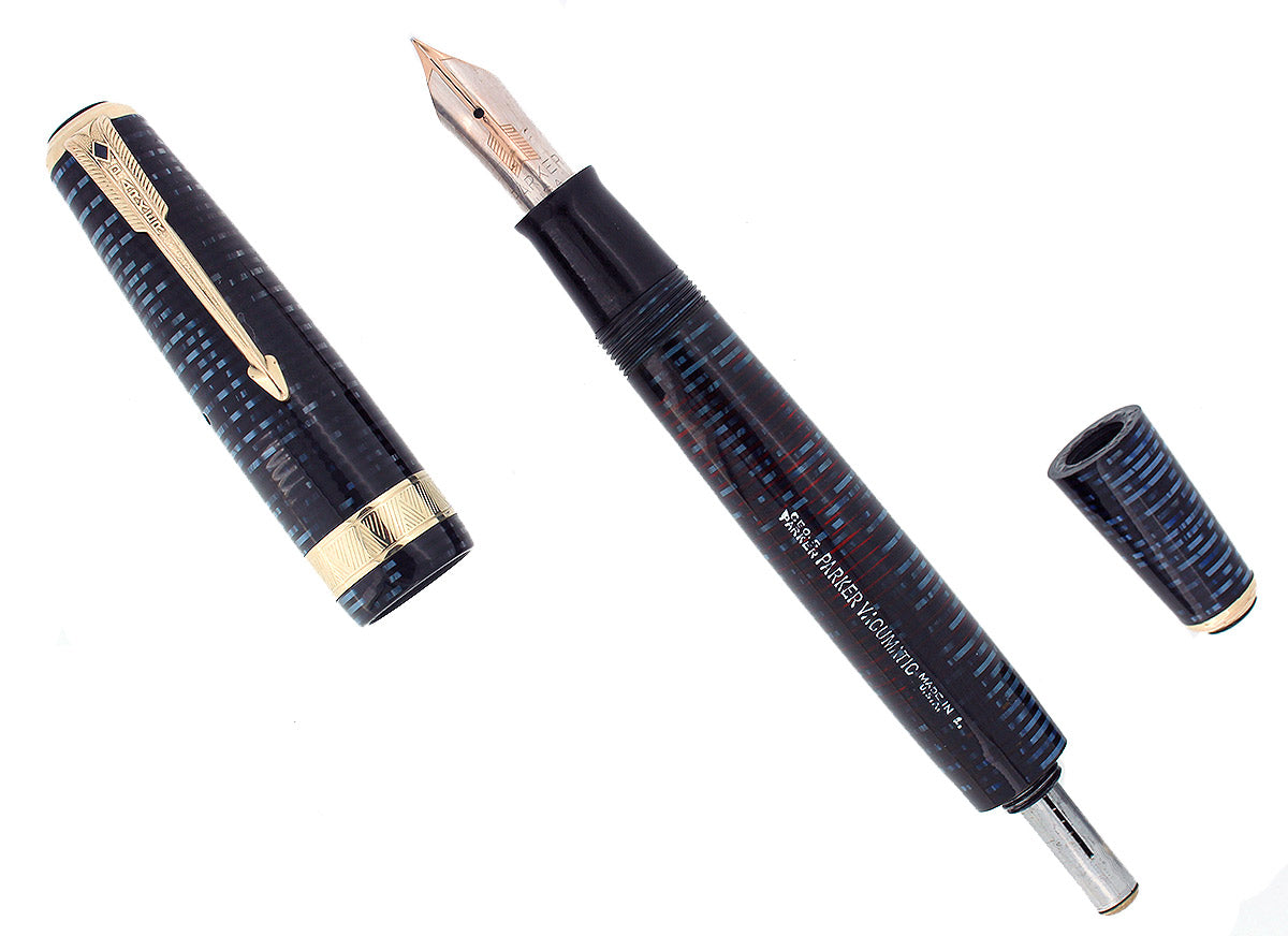 1941 PARKER VACUMATIC SENIOR MAXIMA AZURE PEARL DOUBLE JEWEL FOUNTAIN PEN RESTORED OFFERED BY ANTIQUE DIGGER