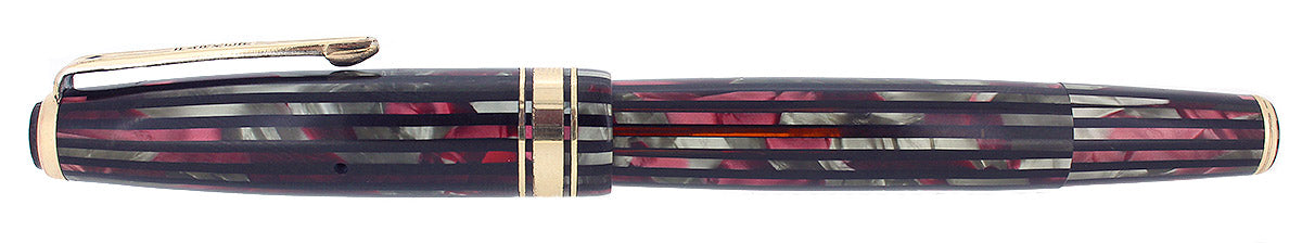 1941 PARKER 1ST GEN SENIOR STRIPED DUOFOLD DUSTY ROSE FOUNTAIN PEN RESTORED OFFERED BY ANTIQUE DIGGER