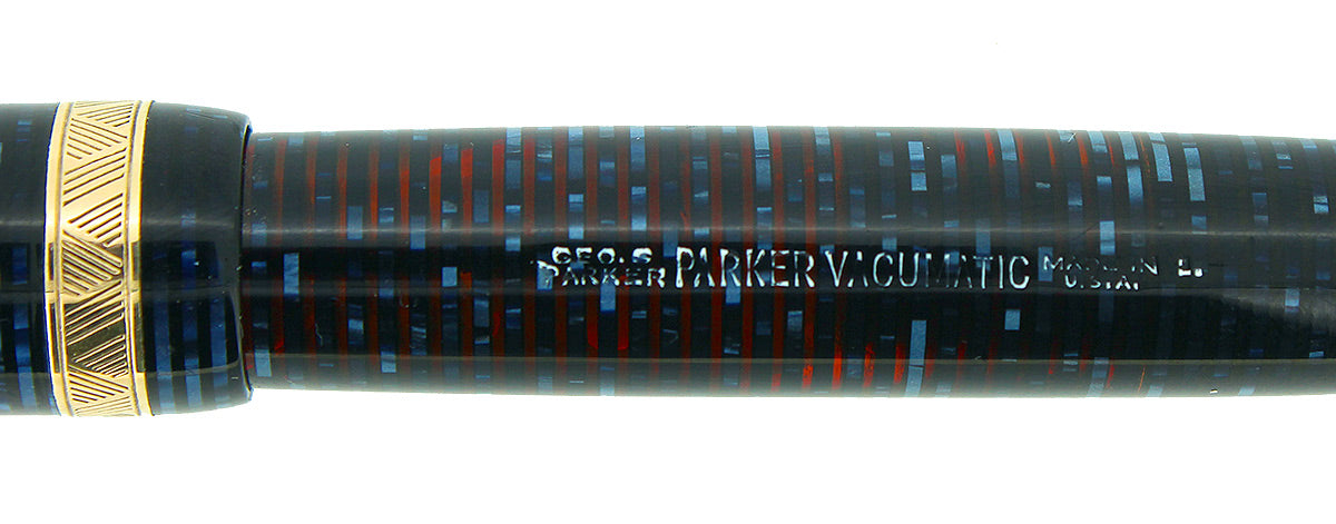 1941 PARKER VACUMATIC AZURE PEARL DOUBLE JEWEL LONG MAJOR FOUNTAIN PEN RESTORED OFFERED BY ANTIQUE DIGGER